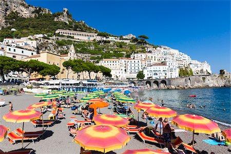 Colorful sun umbrellas on the beach, Amalfi, Province of Salerno, Amalfi Coast, Campania, Italy Stock Photo - Rights-Managed, Code: 700-08576166