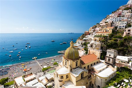 european hillside town - Elevated view of Positano with the Church of Santa Maria Assunta and the Tyrrhenian Sea, Amalfi Coast, Province of Salerno, Campania, Italy Stock Photo - Rights-Managed, Code: 700-08576172