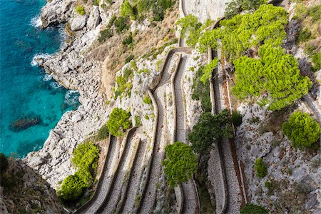south european - Elevated view of the winding footpath of Via Krupp, with the Tyrrhenian Sea, Capri, Campania, Italy Stock Photo - Rights-Managed, Code: 700-08576191