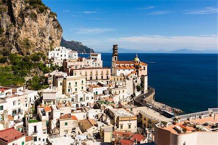 Coastal road and rooftops of buildings with terraces and the Church of Santa Maria Maddalena, Atrani, Amalfi Coast, Italy Stock Photo - Rights-Managed, Code: 700-08639305