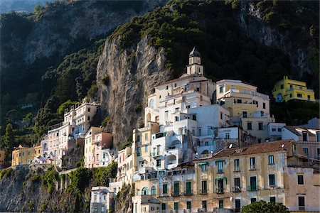 Builidngs of the town of Amalfi hanging like birds nest on the steep cliffs, Amalfi Coast, Italy Stock Photo - Rights-Managed, Code: 700-08639326