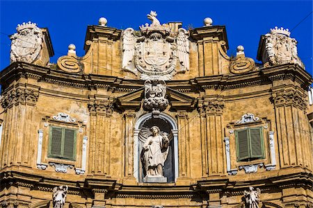 south european - Top of West building at Piazza Vigliena (Quattro Canti) on Corso Vittorio Emanuele in the historic center of Palermo in Sicily, Italy Stock Photo - Rights-Managed, Code: 700-08701893