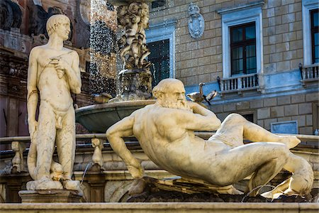 Two male statues at the Pretoria Fountain in Piazza Pretoria (Pretoria Square) in the historic center of Palermo in Sicily, Italy Stock Photo - Rights-Managed, Code: 700-08701903