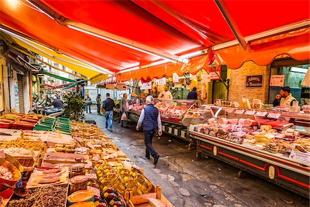 food stalls - People walking through the ancient, open-air Ballaro Market in the old town in Palermo, Sicily, Italy Stock Photo - Rights-Managed, Code: 700-08701915