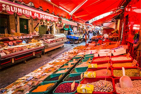 food stalls - Red awnings covering bins of bulkfood and deli counter at the Ballaro Market in the historic center of Palermo in Sicily, Italy Stock Photo - Rights-Managed, Code: 700-08701916
