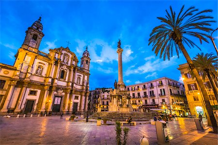 Piazza San Domenico and the Chruch of San Domenico and Cloister (Chiesa di San Domenico e Chiostro) at dusk in historic city of Palermo in Sicily, Italy Stock Photo - Rights-Managed, Code: 700-08701937