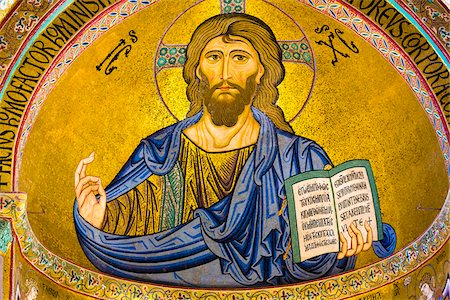 Mosaic of Christ Pantocrator in the Apse of Cefalu Cathedral in Cefalu, Sicily, Italy Stock Photo - Rights-Managed, Code: 700-08713430