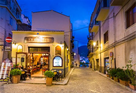european bar building - Exterior of Restaurant at Dusk in Cefalu, Sicily, Italy Stock Photo - Rights-Managed, Code: 700-08713443