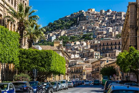 european hillside town - View of city street with homes on mountain side in historical Modica in the Province of Ragusa in Sicily, Italy Stock Photo - Rights-Managed, Code: 700-08723129