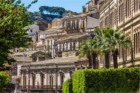 european hillside town - View of Baroque, stone buildings on mountain side in Modica in the Province of Ragusa in Sicily, Italy Stock Photo - Rights-Managed, Code: 700-08723130