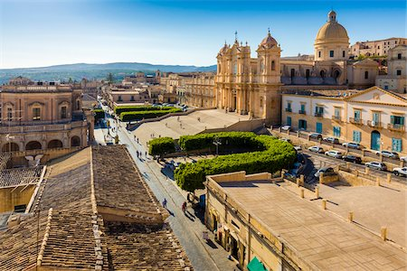 Overview of the Noto Cathedral and grounds in the city of Noto in the Province of Syracuse in Sicily, Italy Stock Photo - Rights-Managed, Code: 700-08723149
