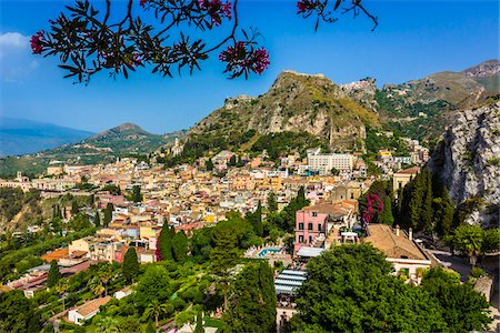 european hillside town - Overview of Taormina, Sicily, Italy Stock Photo - Rights-Managed, Code: 700-08723300