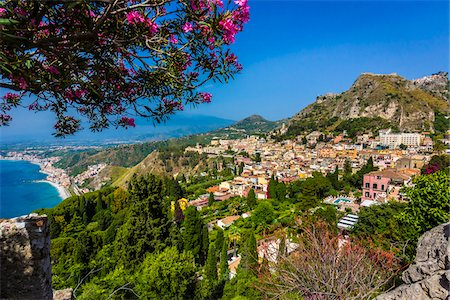 european hillside town - Overview of Taormina, Sicily, Italy Stock Photo - Rights-Managed, Code: 700-08723301