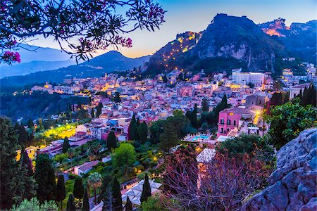 european hillside town - Overview of Taormina at Dusk, Sicily, Italy Stock Photo - Rights-Managed, Code: 700-08723315