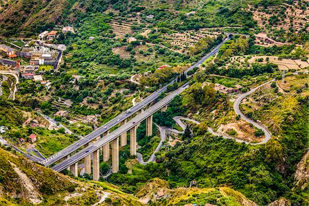 High Angle View of Viaduct, Taormina, Sicily, Italy Stock Photo - Rights-Managed, Code: 700-08723326