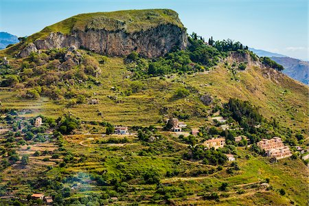 european hillside town - Taormina on Hillside, Sicily, Italy Stock Photo - Rights-Managed, Code: 700-08723321