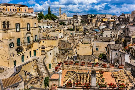 Overview of Sassi with Matera Cathedral in the background, Matera, Basilicata, Italy Stock Photo - Rights-Managed, Code: 700-08737482