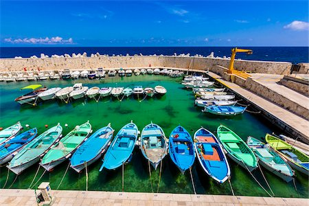 simsearch:400-04638538,k - Colorful fishing boats in the marina at the coastal town of Castro in Puglia, Italy Stock Photo - Rights-Managed, Code: 700-08739614