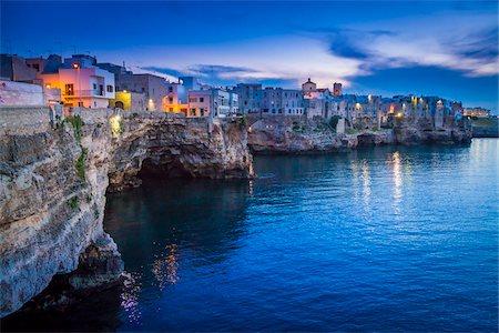 Coastal View of Polignano a Mare at Dusk, Puglia, Italy Stock Photo - Rights-Managed, Code: 700-08739688