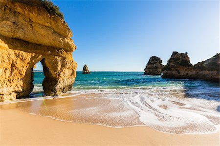 portugal - Surf and Natural Arch at Praia do Camilo, Lagos, Algarve, Portugal Stock Photo - Rights-Managed, Code: 700-08739757