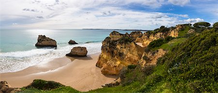 Overview of Praia dos Tres Irmaos, Alvor, Portimao, Algarve, Portugal Stock Photo - Rights-Managed, Code: 700-08739779