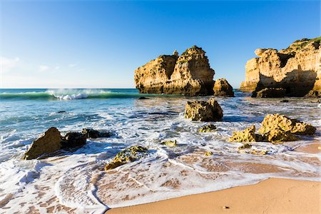 portuguese (places and things) - Rocks in Surf at Praia de Sao Rafael, Albufeira, Algarve, Portugal Stock Photo - Rights-Managed, Code: 700-08739807