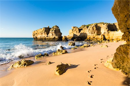 portuguese (places and things) - Footprints in Sand at Praia de Sao Rafael, Albufeira, Algarve, Portugal Stock Photo - Rights-Managed, Code: 700-08739803
