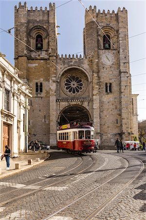 portuguese (places and things) - Tram in front of Se Cathedral, Lisbon, Portugal Stock Photo - Rights-Managed, Code: 700-08739828