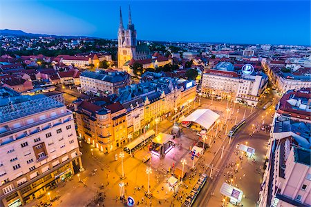 Overview of Ban Jelacic Square at Dusk, Zagreb, Croatia Stock Photo - Rights-Managed, Code: 700-08765296