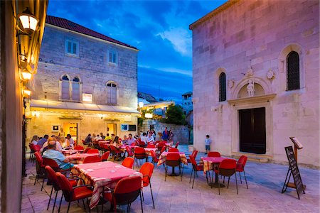 Restaurant Patio at Dusk in Korcula, Dalmatia, Croatia Stock Photo - Rights-Managed, Code: 700-08765384