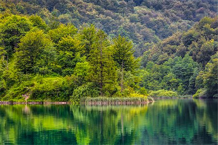 Serene view of forest reflected in a lake at the Plitvice Lakes National Park in Lika-Senj county in Croatia Stock Photo - Rights-Managed, Code: 700-08765480