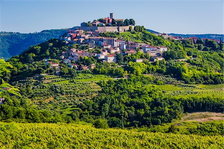 Fertile farmland in front of the medieval, hilltop town of Motovun in Istria, Croatia Stock Photo - Rights-Managed, Code: 700-08765499