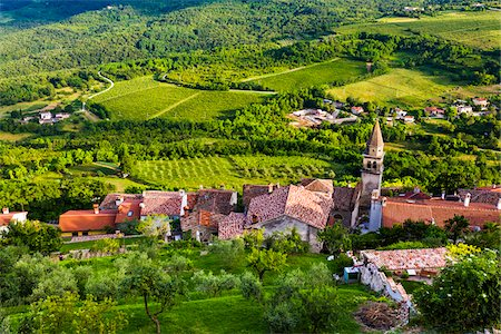 european hillside town - Overview of farmland and looking down on rooftops of the medieval town of Motovun in Istria, Croatia Stock Photo - Rights-Managed, Code: 700-08765518