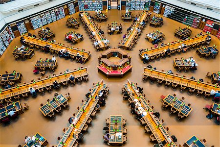 The La Trobe Reading Room in the State Library of Victoria, Melbourne, Victoria, Australia. Stock Photo - Rights-Managed, Code: 700-08765537