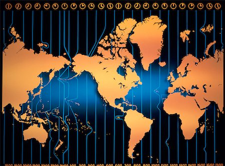 World Map with Time Zones Stock Photo - Rights-Managed, Code: 700-00005864