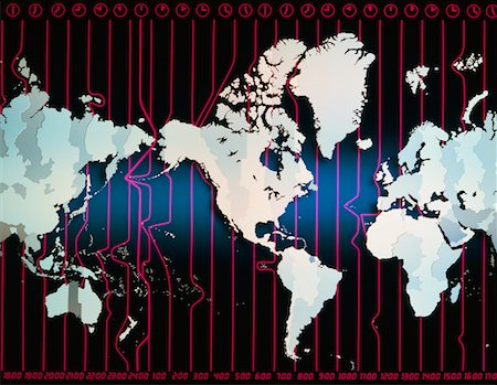 World Map with Time Zones Stock Photo - Rights-Managed, Code: 700-00005860