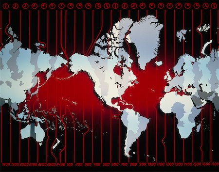 World Map with Time Zones Stock Photo - Rights-Managed, Code: 700-00005863