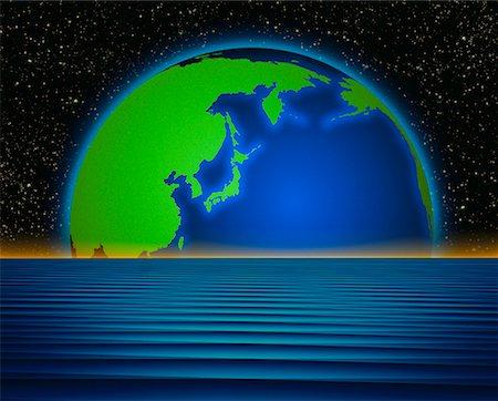 Globe and Horizon Pacific Rim Stock Photo - Rights-Managed, Code: 700-00014308