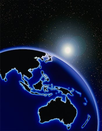 Globe and Starburst Pacific Rim Stock Photo - Rights-Managed, Code: 700-00014825