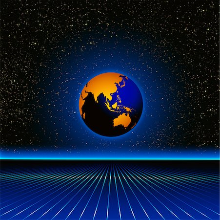 Globe and Grid in Starry Sky Pacific Rim Stock Photo - Rights-Managed, Code: 700-00014827