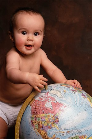 Baby with Globe Stock Photo - Rights-Managed, Code: 700-00015145