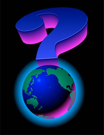 Globe as Question Mark Pacific Rim and North America Stock Photo - Rights-Managed, Code: 700-00016466