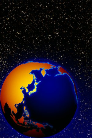 Globe in Space Pacific Rim Stock Photo - Rights-Managed, Code: 700-00016752