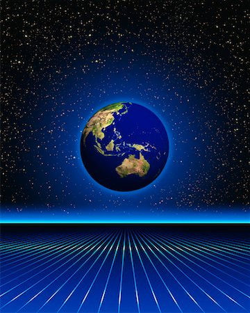 Globe and Grid in Space Pacific Rim Stock Photo - Rights-Managed, Code: 700-00017616