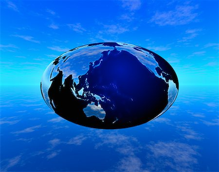 Oval Globe and Clouds Pacific Rim and North America Stock Photo - Rights-Managed, Code: 700-00017753