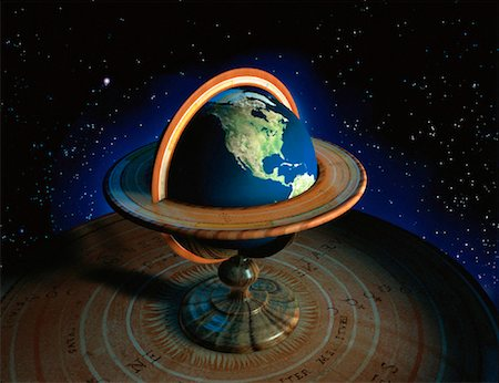 Globe with Stand in Space North America Stock Photo - Rights-Managed, Code: 700-00018277