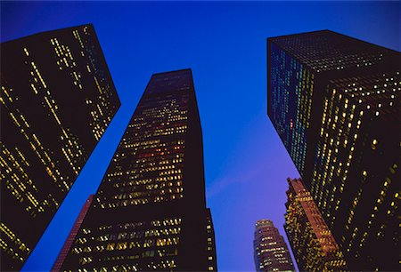 peter griffith - Looking Up at Office Towers at Night Toronto, Ontario, Canada Stock Photo - Rights-Managed, Code: 700-00018532