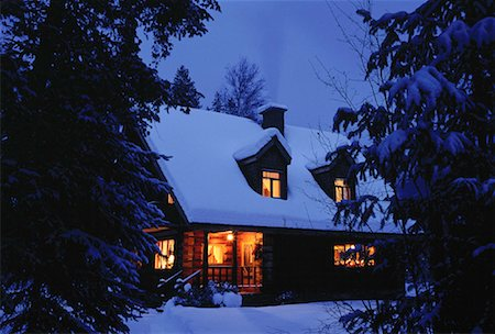 Cabin in Winter at Night St. Mary's Lake Road, Marysville British Columbia, Canada Stock Photo - Rights-Managed, Code: 700-00013541