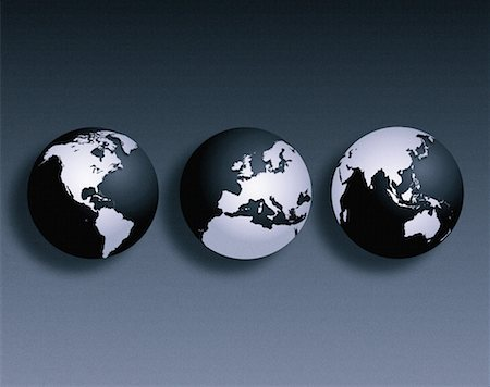 Three Globes North and South America, Europe Pacific Rim Stock Photo - Rights-Managed, Code: 700-00013756