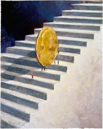 Illustration of People Pushing Coin Up Stairs Stock Photo - Rights-Managed, Code: 700-00024026